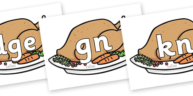Silent Letters on Christmas Turkeys - Silent Letters, silent letter, letter blend, consonant, consonants, digraph, trigraph, A-Z letters, literacy, alphabet, letters, alternative sounds