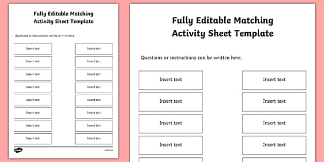 Fully Editable Matching Activity Sheet Template - fully editable, matching activity, match, activity, sheet, template, worksheet