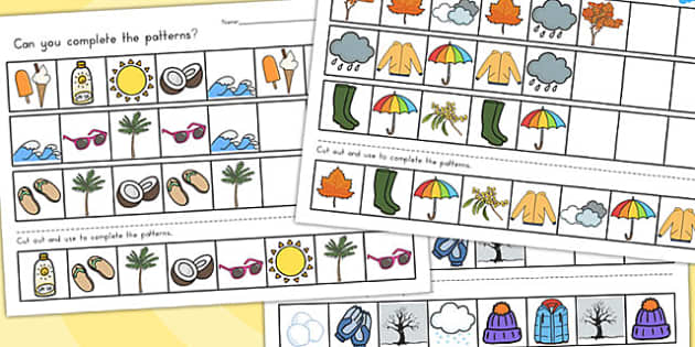 Winter Complete the Pattern Worksheets Temperate - patterns