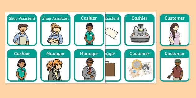 Clothes Shop Role Play Badges - Clothes shop Role Play, clothes shop resources, shop, till, buy, money, clothes, ourselves, shoes, role play, display, poster, role play badge