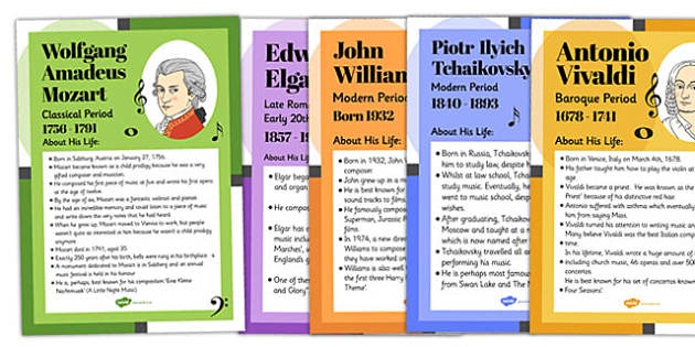 Famous Composers Display Posters Pack - composers, famous, display