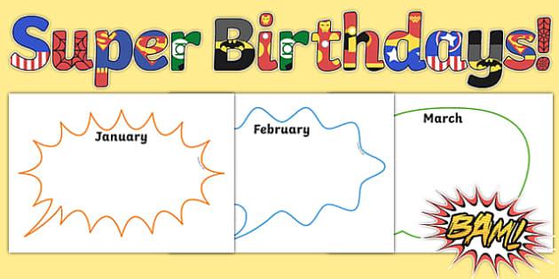Superhero Themed Birthday Display Pack