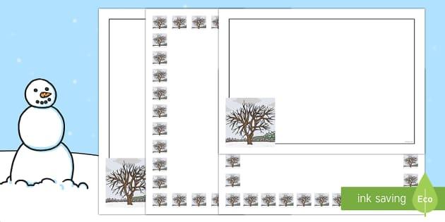 Winter Tree Portrait Page Borders- Portrait Page Borders - Page border, border, writing template, writing aid, writing frame, a4 border, template, templates, landscape