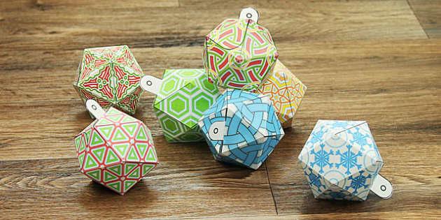 Christmas Paper Baubles Decoration - christmas, paper baubles, decoration, paper craft, paper model
