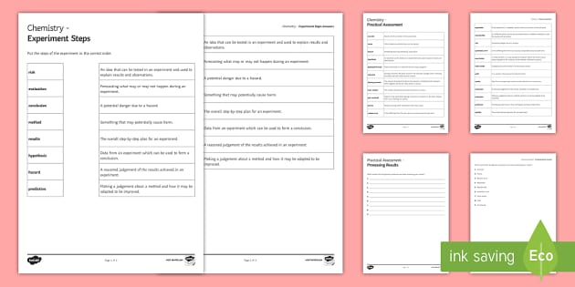 Practical Assessment Glossary Activity - KS4 Glossary, Assessment, Method, Prediction, Hypothesis, Evaluation, Results