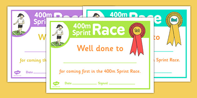Sports Day 400m Sprint Certificates - sports day, certificates