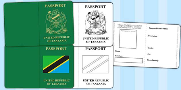 Tanzania Passport Template - tanzania, passport, template, travel