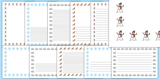 Winter Page Borders (Images) - winter, page border, border, writing template, writing aid, writing aid, skis, ice skates, polar bear, whale, penguin, huskey, snow, winter, frost, cold, ice, hat, gloves