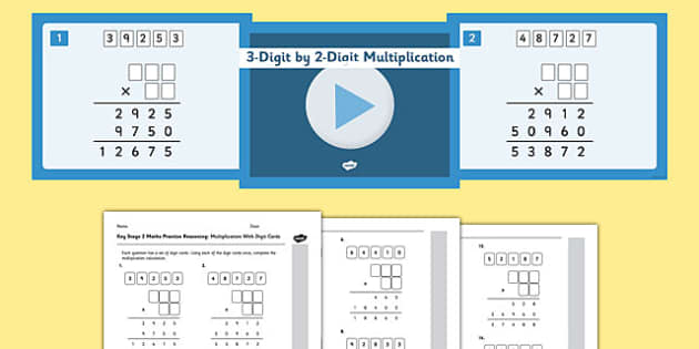 KS2 Reasoning Test Practice Missing Number Calculations Multiplication with Digit Cards Resource Pack - Key Stage 2, KS2, Reasoning, Test, Practise, Missing Number, Long multiplication