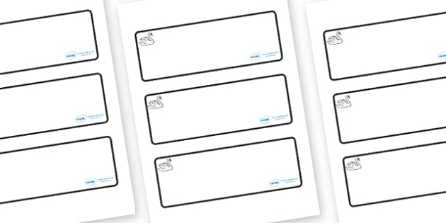 Swan Themed Editable Drawer-Peg-Name Labels (Blank) - Themed Classroom Label Templates, Resource Labels, Name Labels, Editable Labels, Drawer Labels, Coat Peg Labels, Peg Label, KS1 Labels, Foundation Labels, Foundation Stage Labels, Teaching Labels