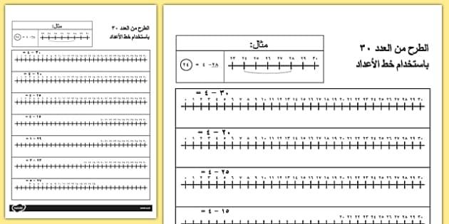 الطرح من العدد 30 باستخدام خط الأعداد - حساب، خط الأعداد، رياضيات , worksheet