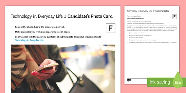 Technology in Everyday Life 1 Photo Card Foundation Tier French - French ICT, French Computing