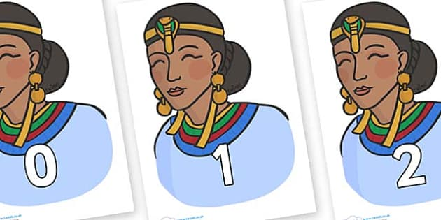 Numbers 0-50 on Egyptian Women - 0-50, foundation stage numeracy, Number recognition, Number flashcards, counting, number frieze, Display numbers, number posters