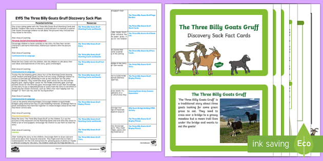 EYFS The Three Billy Goats Gruff Discovery Sack Plan and Resource Pack - discovery sack, goats