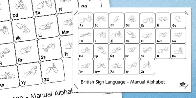 Black and White British Sign Language Alphabet Large Posters