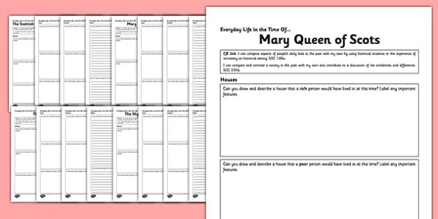 Scottish History Everyday Life Comparison Worksheet Pack - scottish, history