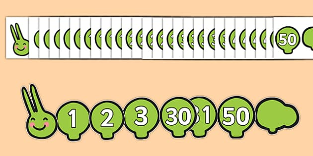 0-50 on Caterpillar Number Line - 0-50, caterpillar, number line, number, line, numeracy, maths, numbers