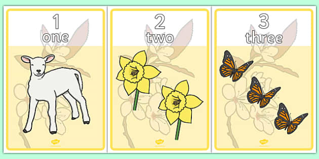 Spring Number And Word Posters - numbers, words, numeracy, spring, poster, sign, display, matching, number regocnition, counting, flowers, blossom, seasons, sun