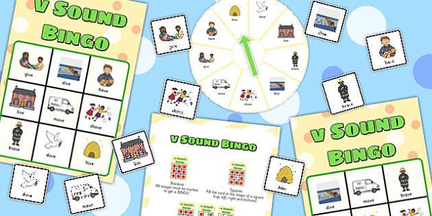 Final 'V' Sound Spinner Bingo - final v, sound, spinner, bingo