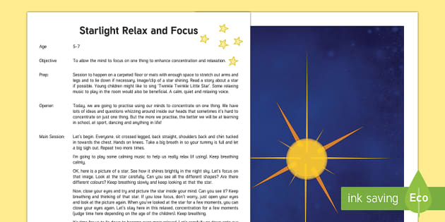 Yoga Starlight Relax and Focus Session Activity
