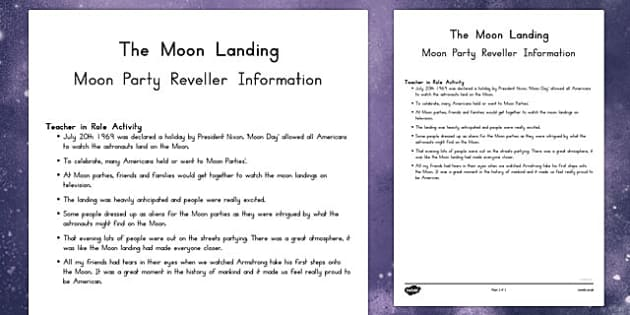 Teacher in Role Activity Moon Party Reveller - australia, teacher role, activity
