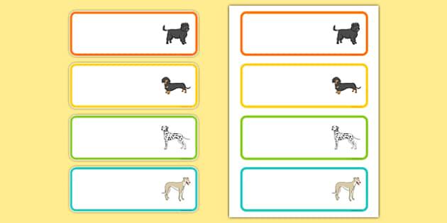Dog Themed Editable Drawer Peg Name Labels - Dame Lynley Dodd, hairy maclary, editable, drawer, peg, name, labels, display