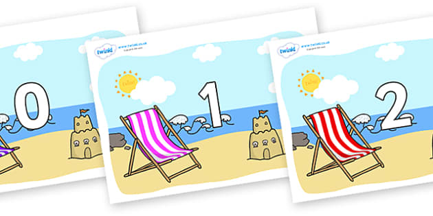 Numbers 0-31 on Seasides - 0-31, foundation stage numeracy, Number recognition, Number flashcards, counting, number frieze, Display numbers, number posters