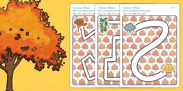 Autumn Pencil Control Path Worksheets - fine motor skills, season