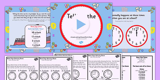 Telling the Time Boat trip Times PowerPoint Task Setter Arabic Translation - arabic, telling the time, clocks, time telling, boat trips, time telling task setter, boat timetables