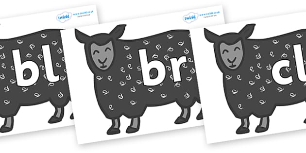 Initial Letter Blends on Black Sheep to Support Teaching on Brown Bear, Brown Bear - Initial Letters, initial letter, letter blend, letter blends, consonant, consonants, digraph, trigraph, literacy, alphabet, letters, foundation stage literacy