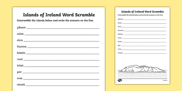 Islands of Ireland Word Scramble Activity Sheet-Irish, worksheet