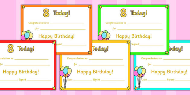 Editable Birthday Certificates Age 8 - birthday, certificates