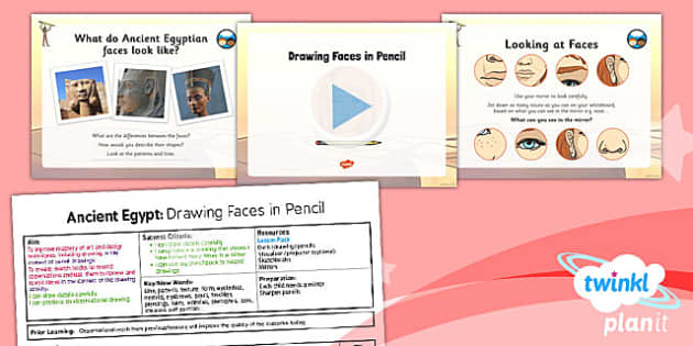 PlanIt - Art UKS2 - Ancient Egypt Lesson 1: Drawing Faces in Pencil Lesson Pack