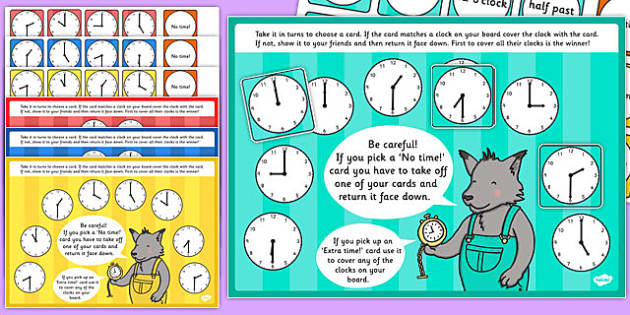 O'Clock and Half Past Time Bingo and Lotto Game - o'clock, half past, time, bingo, lotto, game, activity