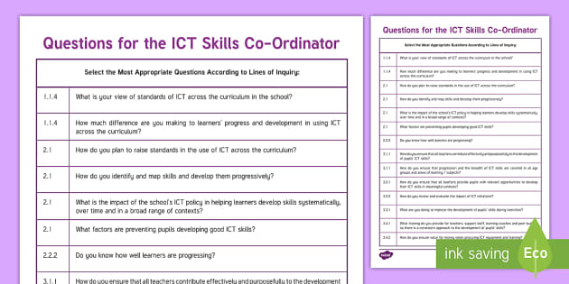 Questions for the ICT skills co ordinator from ESTYN Display Poster - Digital Competence Framework Year 3, Year 4, Year 5, Year 6, Wales, ICT, ICT in Key Stage 2, Digital