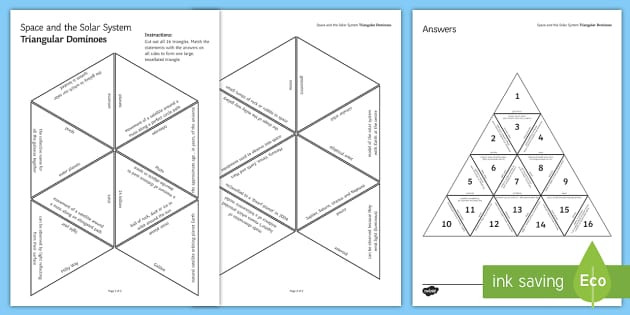 Space and the Solar System Tarsia Triangular Dominoes - Tarsia, gcse, physics, space, solar system, universe, big bang, planets, asteroid, comet, telescopes