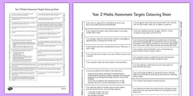 Year 2 Maths Assessment Targets Colouring Sheet - year 2, maths