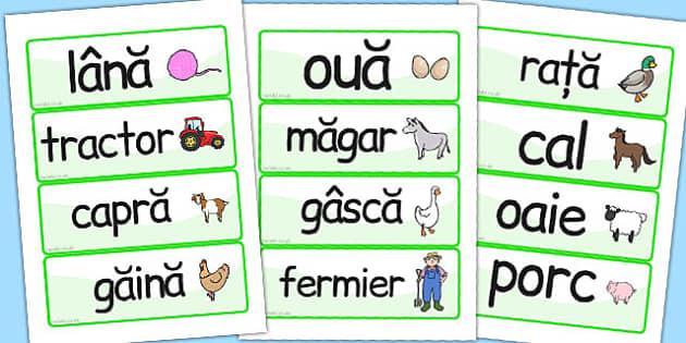 La ferma - cartonase de cuvinte, Romanian