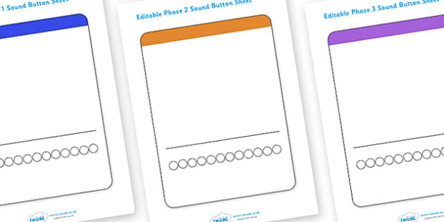 Editable Sound Button Sheets - Sound Button Sheets, Sounds, editable