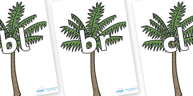 Initial Letter Blends on Palm Trees - Initial Letters, initial letter, letter blend, letter blends, consonant, consonants, digraph, trigraph, literacy, alphabet, letters, foundation stage literacy