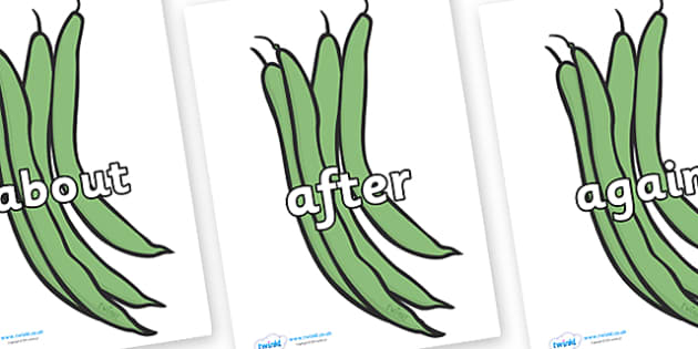 KS1 Keywords on Green Beans - KS1, CLL, Communication language and literacy, Display, Key words, high frequency words, foundation stage literacy, DfES Letters and Sounds, Letters and Sounds, spelling