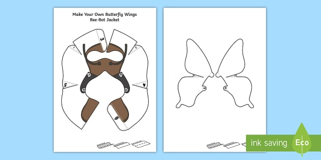 Make Your Own Butterfly Wings Bee-Bot Jacket - The Crunching Munching Caterpillar, Sheridan Cain, life cycle of a butterfly, symmetry, symmetrical,