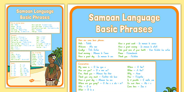 Samoan Language Basic Phrases A4 Display Poster