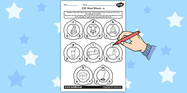 CVC Word Wheel Worksheets o - CVC words, word wheel, visual aid