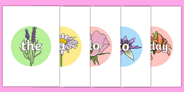 Year 1 Common Exception Words on Flowers - common exception, words, common excpetion words, cew, spellings, year 1, year one, national curriculum, nc, ks1, tricky words,