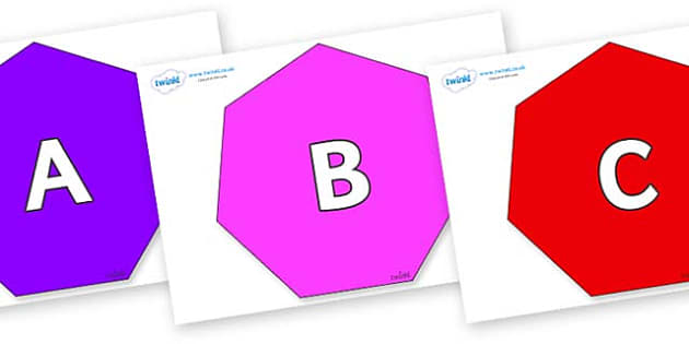 A-Z Alphabet on Heptagons - A-Z, A4, display, Alphabet frieze, Display letters, Letter posters, A-Z letters, Alphabet flashcards