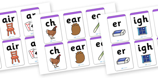 Phase 3 Matching Cards - Matching Card, Phonemes, Phase 3, Phase three, Mnemonic cards, DfES Letters and Sounds, Letters and sounds, Letter flashcards