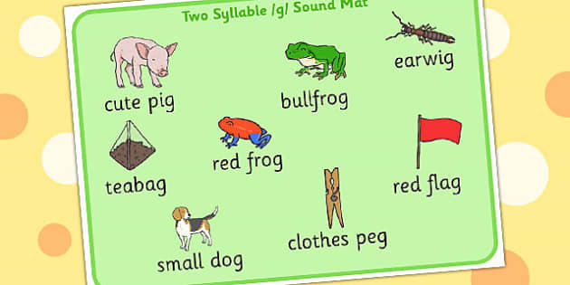 Two Syllable Final G Sound Word Mat 2 - syllable, final, g, sound