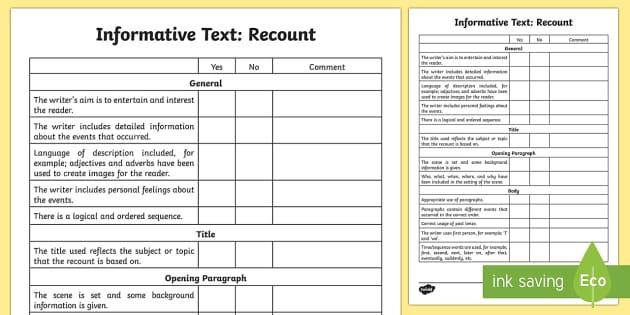 Informative Text: Recount Assessment Checklist - Literacy, informative text assessment grid, recount assessment grid, informative text recount assess