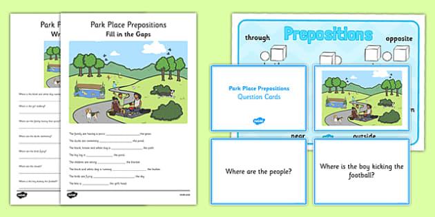 Park Place Prepositions Pack - place prepositions, classroom, pack